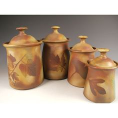 Canister set Lidded Jars Kitchen Canisters with tree leaves in Change... ($385) ❤ liked on Polyvore featuring home, kitchen & dining, food storage containers, lidded jars and 4 piece canister set