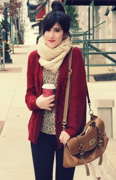 Red cardigan, leopard blouse and infinity scarf