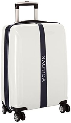 Nautica Landfall 20 Inch Hard Side Spinner White One Size *** You can find more details by visiting the image link. Best Travel Luggage, Carry On Luggage, Luggage Sets, Full Size Box Spring, Adjustable Bed Frame, Samsonite Luggage, Major Airlines, Travel Essentials, Luxury Travel