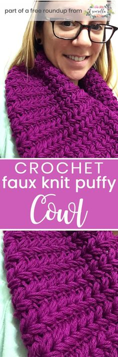 Get the free crochet pattern for this faux knit puffy crochet cowl from Not Your Average Crochet featured in my crochet that looks knit FREE pattern roundup!