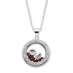 Palm Beach Jewelry PalmBeach Silvertone 1/2ct Birthstone and Cubic Zirconia and Austrian Crystal Floating Charm Pendant Color Fun (December - Simulated Topaz), Women's, Size: 20 Inch, White