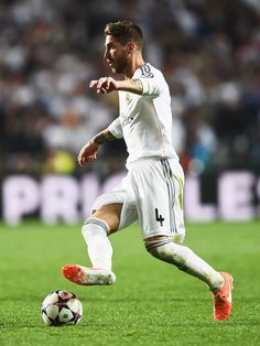 Sergio Ramos in action during the UEFA Champions League final match between Real Madrid CF and Club Atlético de Madrid at Estadio Da Luz on May 24, 2014 in Lisbon, Portugal.