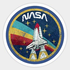 stickers 'Nasa Vintage' Sticker by Maliky Nauery Stickers Cool, Preppy Stickers, Bubble Stickers, Phone Stickers, Printable Stickers, Planner Stickers, Vintage Sticker, Wal Art, We Will Never Forget
