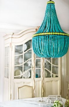 turquoise beaded chandelier - color of the month- tantalizing turquoise (home design and decorating ideas, trends, and inspiration) - Update Dallas Deco Turquoise, Turquoise Chandelier, Beaded Chandelier, Empire Chandelier, Unique Chandelier, Turquoise Glass, Chandelier Lighting, Vintage Chandelier, Home Decor Ideas