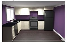 GIY: Goth It Yourself: Kitchen Renovation, Part Let the Planning Begin! Purple Kitchen Walls, Kitchen Paint Colors, Purple Walls, Goth Home Decor, Diy Home Decor, Kitchen Redo, Kitchen Design, Kitchen Ideas, Purple Home
