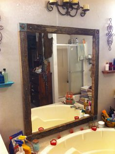 Barnwood Framed Bathroom Mirrors transform your door frame into a rustic barnwood theme. barn wood