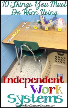 Independent work systems (TEACCH) are a staple in many autism and other special education classrooms. They are considered an emerging or evidence-based practice for teaching independence. Setting them up and using them correctly are critical. Here are 1 Life Skills Classroom, Autism Classroom, Classroom Resources, Classroom Ideas, Autism Resources, Classroom Organization, Classroom Management, Classroom Setting, Future Classroom