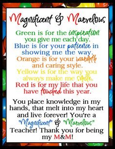 teacher appreciation m & m - Google Search