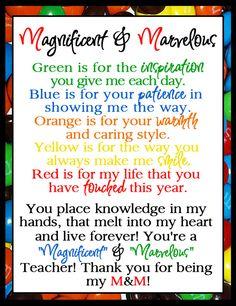 teacher appreciation m & m - Google Search