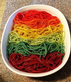 Rainbow Pasta Fun: bet I could do this with veggies instead of food coloring.