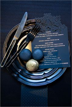 Black laser cut opulent menu cards with gold foiled lettering by… Wedding Menu, Wedding Reception, Wedding Ideas, Wedding Stationery, Wedding Invitations, Secret Diary, Menu Cards, Laser Cutting, Birthdays