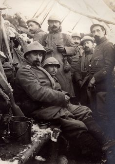 World War I. French soldiers in a trench during winter