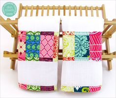 COULD also make w/terry nd do the colorful fabric reversible!!! Scrappy Patchwork Flour Sack Dish Towels | Sew4Home