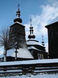 Carpathian Wooden Churches are UNESCO World Heritage Sites. The eight wooden religious churches are built between 16th and 18th century in eight different places in Slovakia. This one was built without a single nail, and is a Greek Orthodox Catholic church.
