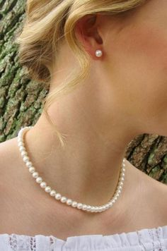 Real Freshwater Pearl Necklace & Stud Earrings, Pearl Jewelry for Bride Bridesmaid Wedding, White Round Classic Sterling Silver Real Pearl Earrings, Pearl Jewelry, Beaded Jewelry, White Freshwater Pearl, Freshwater Pearl Necklaces, Thing 1, Real Pearls, Pearl Studs, Necklace Sizes