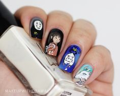 """One of my favorite films is Spirited Away. I love almost all of Miyazaki's work, I think that Studio Ghibli productions are just magnificent, a perfect mixture of whimsy and childlike imagination that unfortunately leaves most of us as we age. So today's manicure is based on the characters of Spirited Away""."