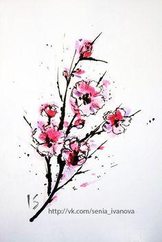 sakura, watercolor, tree, tattoo, flowers, cherry, blossom