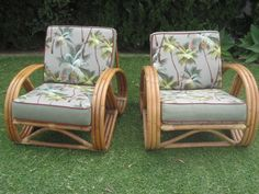Vintage 1950's three band - 3/4 quarter pretzel arm design club chairs fully restored tiki Hawaiiana