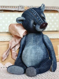 Best Teddy Bear, Vintage Teddy Bears, Denim Crafts, Bear Doll, Sewing Toys, Stuffed Animal Patterns, Handmade Toys, Sewing Projects, Dolls