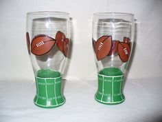 Football hand painted beer glasses by crazylu on Etsy, $24.00