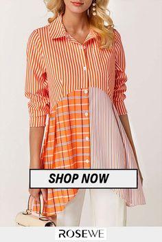 Button Front Asymmetric Hem Printed Blouse.#rosewe#shirt Blouse Styles, Blouse Designs, Trendy Tops For Women, Shirt Blouses, Shirts, Fashion Line, Printed Blouse, Fashion Outfits, Button