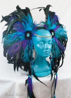 Peacock Headdress Custom Order por Wickedheart en Etsy