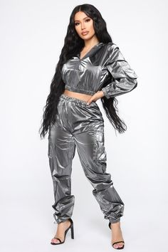 Women - Page 2 - Shiny Sports Grey Hoodie, Hoodie Jacket, Modest Dresses, Satin Dresses, Pvc Leggings, Skins Leggings, Leather Leggings, Grey Fashion, Fashion Outfits