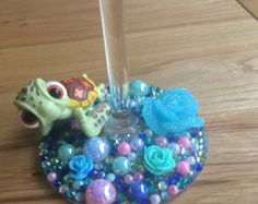 Disney Rapunzel Sparkle Glitter Wine Glass by SparkleBella1