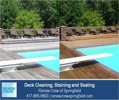 http://renewcrewspringfield.com/deck-cleaning-staining-sealing – Wooden decks around swimming pools need good care to avoid splinters and foot injuries to swimmers. Our deck cleaning process works great around pools and hot tubs because it contains no harsh chemicals. We serve Springfield MO plus Greene, Christian, Webster, Polk and Dallas Counties. Free estimates.