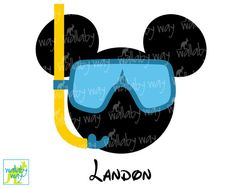 Scuba Mickey Head Printable Iron On Transfer or Use as Clip Art, DIY Disney Shirt, Mickey Head, Download, Disney Cruise, Matching Shirts by TheWallabyWay on Etsy