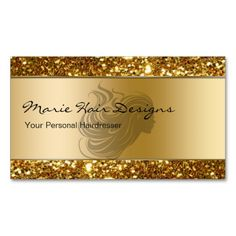Classy Beauty Hairdresser Business Cards Classy beauty hairdresser business cards with beautiful simulated gold background and gold glitter look printed on the front and back, with great text layout you can customize and . Fashion Business Cards, Beauty Business Cards, Luxury Business Cards, Salon Business Cards, Gold Business Card, Hairstylist Business Cards, Modern Business Cards, Business Card Design, Business Ideas