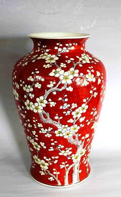 Chinese Red Glazed Porcelain Vase -- No further reference provided. Porcelain Jewelry, Fine Porcelain, Porcelain Ceramics, Ceramic Pottery, Ceramic Art, Porcelain Skin, Porcelain Tiles, Porcelain Doll, Red Vases