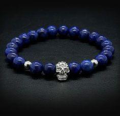 Blue - Lapis lazuli karkötő Lapis lazuli with stainless steel skull bracelet Skull Bracelet, Beaded Bracelets, Lapis Lazuli, Stainless Steel, Blue, Jewelry, Jewlery, Bijoux, Pearl Bracelets