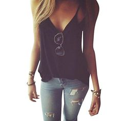 7ce146f339c0c7 Summer Vest Top Misaky Sleeveless Shirt Blouse Casual Tank Top TShirt M  Black Shirt Blouses