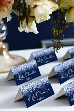 Silver Sparkle and Navy Wedding Place Card Tents, Place Cards, DIY Place Card Printable, Wedding Name Cards, Wedding Signs, Diy Wedding, Trendy Wedding, Wedding Flowers, Wedding Ideas, Wedding Centerpieces, Wedding Table, Wedding Decorations