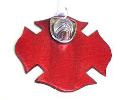 Firefighter Ornament Metal Maltese Cross & Firefighter Helmet Charm Gift