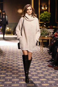 @roressclothes closet ideas #women fashion outfit #clothing style apparel Oversized Sweater and Knee-high Boots