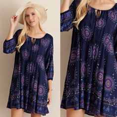 Navy/Blue Medallion Print Dress AVAILABLE in SMALL, MED, LARGE  •Navy Color •Medallion Print •Lace Up Tie Front •Non-Sheer, Fully Lined  •100% Rayon   SMALL: 38in B, 32in L      MED: 40in B, 33in L      LARGE: 42in B, 34in L ••••••••••••••••••••••••••••••••••••••••••••  Hello! I'm Monika. I'm a Boutique Owner & an Entrepreneur Mentor. Welcome to my closet!   Let's keep in touch  Instagram: @monikarosesf YouTube: MonikaRoseSF Snapchat: itsmonikarose Monika Rose SF Dresses