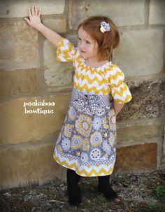 MADE to ORDER 3/4 sleeve Peasant dress with flower sash--Yellow Chevron Madison style Dress. $45.00, via Etsy.