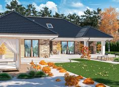 Zdjęcie projektu Padme 2 WOE1113 Home Building Design, Home Garden Design, Patio Design, Building A House, Exterior Wall Design, House Design Pictures, Bungalow Exterior, House Elevation, Home Fashion