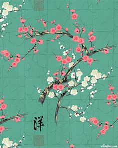 Indochine - Golden Garden - Plum & Cherry Blossoms - Quilt Fabrics from www.eQuilter.com