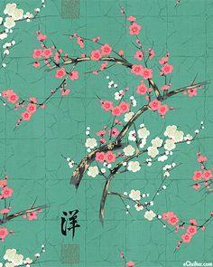 Indochine - Golden Garden - Plum & Cherry Blossoms - Quilt Fabrics from www.eQuilter.com
