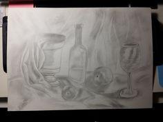 Tarea I.3: Aprendiendo a componer y dibujar. Dibujar un bodegón con una técnica húmeda o seca estudiada en el trimestre. En mi bodegón he utilizado una técnica seca y estoy contento con mi resultado.