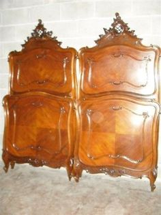 Pair of Antique Victorian Walnut carved Antique beds to match dresser