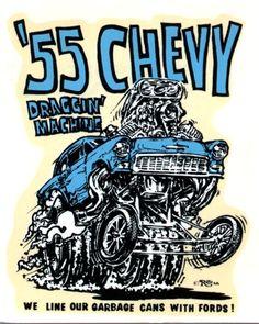 Ed Big Daddy Roth 55 Chevy 1966 Decal Sticker Car Drawings, Cartoon Drawings, Hot Rods, Ed Roth Art, Cartoon Rat, Monster Car, Rat Fink, Garage Art, Big Daddy