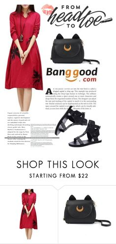 """Banggood 11"" by nejra-l ❤ liked on Polyvore featuring red, dress, sandals and BangGood"
