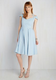 Ladylike a Dream Dress in Blue. When it comes to elegant simplicity and romantic charm, this dusty blue midi dress fulfills your reverie wish. #blue #modcloth