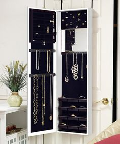 Love this White Over-the-Door Mirrored Jewelry Armoire on #zulily! #zulilyfinds