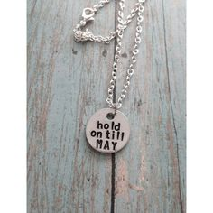 Pierce The Veil Hold On Till May Hand Stamped Necklace (13 CAD) ❤ liked on Polyvore featuring jewelry, necklaces, hand stamped necklace and hand stamped jewelry