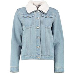 Boohoo Sally Slim Fit Borg Collar Denim Jacket (155 DKK) ❤ liked on Polyvore featuring outerwear, jackets, slim fit denim jacket, slim denim jacket, borg collar denim jacket, cotton jacket and slim jean jacket